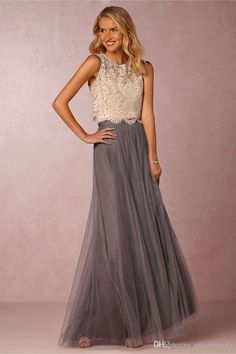 019283594b4132 2019 Vintage Two Pieces Crop Top Bridesmaid Dresses Tulle Ruched Floor  Length Blush Mint Grey Bridesmaids Gowns Lace Wedding Party Dress