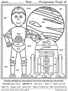 STAR WARS MATH: May The Facts Be With You ~ 6 Color By The Code Math Puzzle Printables! Use the children's love of Star Wars to practice basic addition and subtraction math facts as well as odd and even number recognition. Maths Puzzles, Math Worksheets, Math Activities, Camping Activities, Star Wars Classroom, Math Classroom, Math For Kids, Fun Math, Homeschool Math