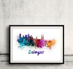Colonia skyline en acuarela sobre fondo blanco con el nombre de la ciudad. - SKU 0333 by Paulrommer on Etsy