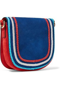 Red and navy suede (Goat) Push clasp-fastening front flap Weighs approximately 0.9lbs/ 0.4kg Made in Italy
