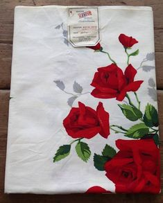 Vintage Mid Century 50s  White Red Roses Floral Romantic Cotton Tablecloth Table Linen 54 x 50 Inches