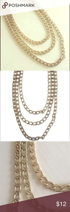 ⭐️Gold necklace⭐️ Three strand chain link necklace Francesca's Collections Jewelry Necklaces