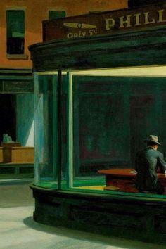 "Detail from Edward Hopper's ""Nighthawks"", 1942."
