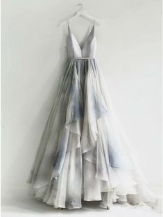 On Sale Colorful Backless Prom Dresses, A-Line Spaghetti Straps Backless Silver Prom Dress With Ruffles