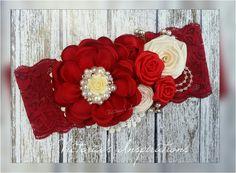 Baby girl headband / bow / diademas red