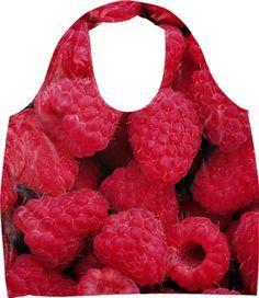 "Raspberries Eco Bag. Material: 100% nylon. Bag width 20"", length 27"", gusset 3"", and handle 23"""