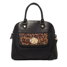 Like New Emma Fox Black Leopard Haircalf Leather Saranac Satchel Bag $75 + Ship