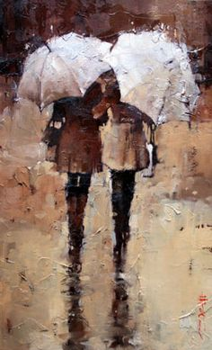 "Andre Kohn ""Shopping, Rain or Shine."" Love this style of painting."