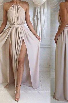 prom dresses,simple a-line backless chiffon long prom dresses, formal dresses