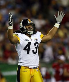 Troy Polamalu of the Pittsburgh Steelers gestures on the field against the Arizona Cardinals during Super Bowl XLIII on February 2009 at Raymond James Stadium in Tampa, Florida. (Photo by Jamie Squire/Getty Images) *** Local Caption *** Troy Polamalu Go Steelers, Pittsburgh Steelers Football, Football Love, Pittsburgh Sports, Football Fans, Troy Polamalu, Pitt Panthers, Steeler Nation, American Football