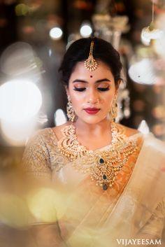 South Indian Bridal Makeup: brides who totally rocked this look - . - Makeup Looks Korean Bridal Makeup Images, Indian Bridal Makeup, South Indian Makeup, Bridal Beauty, South Indian Weddings, South Indian Bride, Bride Makeup, Wedding Makeup, Long Pearl Necklaces