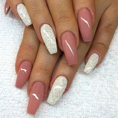 Nude Pink with Silver Glitter on Coffin Nails. Silver glitter is always a great . Alpi , , Nude Pink with Silver Glitter on Coffin Nails. Silver glitter is always a great . Nude Pink with Silver Glitter on Coffin Nails. Silver glitter is a. Prom Nails, Bling Nails, My Nails, Silver Nails, Glitter Manicure, Nude Nails With Glitter, Wedding Nails, Fall Nails, Acrylic Nails For Summer Glitter