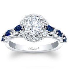 Barkev's 14K White Gold Blue Sapphire Halo Diamond Engagement Ring