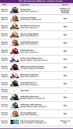 Northwestern Wildcats Football Team 2012 Schedule