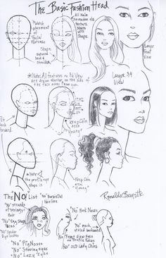 Fashion Design Drawing Fashion Face and Head Worksheet I drew for my students at FIT -Renaldo Barnette Fashion Design Sketchbook, Fashion Design Drawings, Fashion Sketches, Fashion Illustration Face, Illustration Mode, Fashion Illustration Template, Fashion Sketch Template, Fashion Illustrations, Illustration Techniques