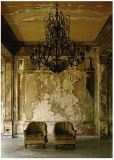 I need this wall finish...   Isabella's Two Chairs, 1999, Cuba, Michael Eastman