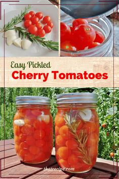 Pickled Cherry Tomatoes If your cherry tomato plants are producing more fruit than you can possibly eat, try pickling them to enjoy later in the year. Rosemary and garlic flavored Pickled Cherry Tomatoes. Great flavor boost for salads and sandwiches. Canning Cherry Tomatoes, Pickled Tomatoes, Pickled Garlic, Pickled Cherry Tomatoes Recipe, Pickled Veggies Recipe, Marinated Tomatoes, Cherry Tomato Plant, Cherry Tomato Recipes, Tomato Plants