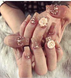 3d Nail Designs, Nail Designs Pictures, 3d Nails, Swag Nails, Bridal Nails, Wedding Nails, Nail Bags, Angel Nails, Design Salon