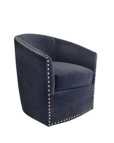 Bryn St. Clair Navy Velvet Swivel Chair At Neiman Marcus.