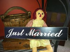 JUST MARRIED wood wedding sign 18 x 4 inch  wood by TheCountryNook,