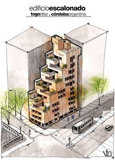 Surrealist Illustrations : Edificio Escalonado : Togo Diaz | Visualizer : Fer Neyra