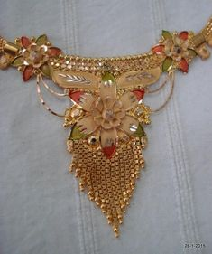 Items similar to vintage antique gold necklace choker traditional jewelry on Etsy Gold Mangalsutra Designs, Gold Earrings Designs, Gold Jewellery Design, Bead Jewellery, Gold Jewelry, Necklace Designs, Diamond Jewelry, Jewelry Sets, Gold Chocker Necklace
