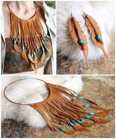 conjunto pendientes + collar cuero