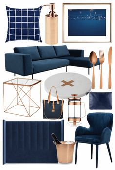 Best bits from the Navy and Copper Homewares Trend : navy and copper homewares mood board tlc interiors Mood Board Interior, Interior Design Boards, Home Interior, Interior Design Living Room, Living Room Designs, Furniture Design, Blue And Copper Living Room, Navy Living Rooms, Navy And Copper