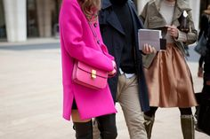 Obsessed with this amazing hot pink trench, bag & black thigh high leather boots! Spotted in NYC during #nyfw