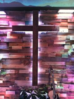 pallets for framing, offset the cross and put rope lighting behind it.