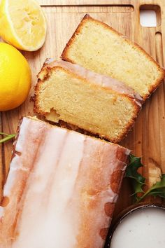 A vegan Pound Cake that is so rich and decadent no one will believe it's vegan. Topped with a lemony glaze for a delightful sweet morning or midday snack. Vegan Treats, Vegan Foods, Vegan Dessert Recipes, Cooking Recipes, Cake Vegan, Vegan Lemon Cake, Food Porn, Pound Cake Recipes, Vegan Pound Cake Recipe