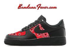 Custom Red Bandana Nike Air Force 1 Shoes Black Low, FREE SHIPPING, #paisley, #bandanna, #nikeshoes, #af1, #af1head, by Bandana Fever by BandanaFeverDesigns on Etsy https://www.etsy.com/listing/517289748/custom-red-bandana-nike-air-force-1