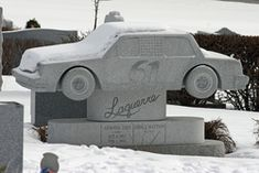 race car grave stone - Hope Cemetery in vermont....I wonder how much a stone like this would cost?