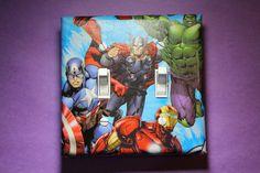 Avengers Double Light Switch Cover comic superhero room decor Thor Hulk Iron Man