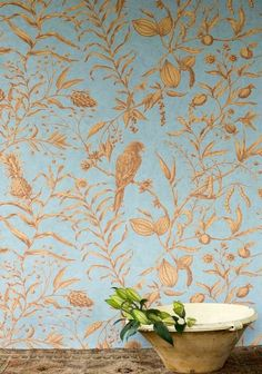 bird wallpaper wallcovering | Squawk Wallcovering A wide width wallpaper featuring subtle line ...
