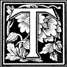 Floral Letter 'T' - Stamp stamp