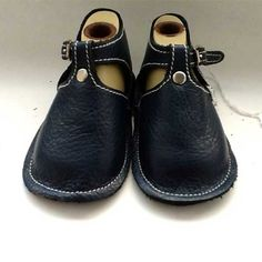 NYC-Made Navy Blue Baby Shoe with Buckle