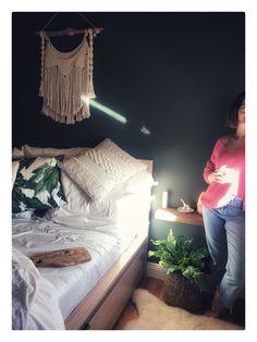 Green smoke : farrow and ball. Macrame wall hanging: sheepskin rug, my bedroom Sheepskin Rug, Bed Sheets, Macrame, Nest, Master Bedroom, Toddler Bed, Smoke, Photo And Video, Wood