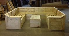 Pallet sofa and table, perfect for outside on the porch or around the fire pit.