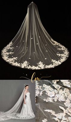 This delicate cathedral length lace veil is very stunning! Handmade with very soft bridal illusion tulle and a gorgeous applique lace, this simple but gorgeous wedding veil must light up your wedding day! Lace Veils, Bridal Veils, Chapel Length Veil, Cathedral Wedding Veils, French Lace, Wedding Colors, Diy Wedding, Wedding Ideas, Wedding Accessories