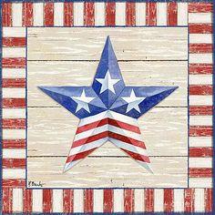 Bordered Patriotic Barn Star II by Paul Brent