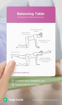 HOW TO: Balancing Table yoga position – visual workout sequence pose and benefits guide for beginners from the YOGA CARDS deck by WorkoutLabs: http://WLshop.co