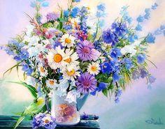 Полевой букет с колокольчиками, картина раскраска по номерам, картина своими руками, размер 40*50см, цена 750 руб