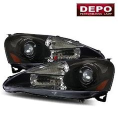 05-06 Acura RSX Projector Headlights - Black by DEPO