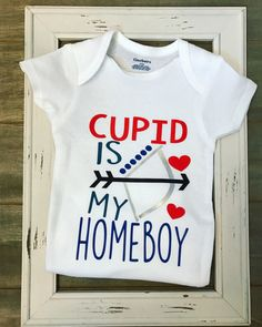 Cupid is my Homeboy bodysuit, Boys Valentine's Day Outfit, Boys Valentine's onesies