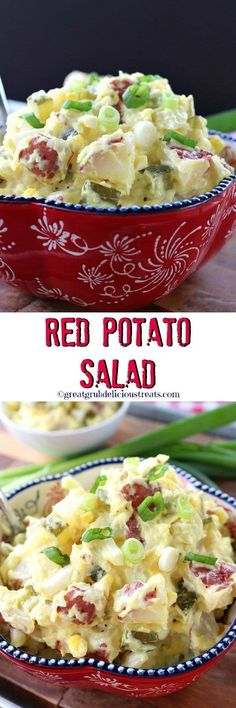 Red Potato Salad. Excellent recipe. I also like a little diced celery in mine. About the same amount as the onion. http://www.greatgrubdelicioustreats.com/red-potato-salad/