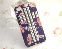 Iphone 4S case, Iphone 4 Case, Silver Cross Studded Iphone Case, Flower rose Iphone 4 4S Case, dark purple Hard case. $12.99, via Etsy.
