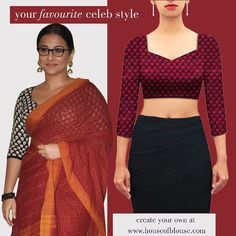 Vidya Balan's classic Indian style. Arty and elegant. Get yourself an inspired version or customise the sleeves, neck, fabric etc to make it your own here: http://bit.ly/1Oc7PMO. *Shipping worldwide* Whatsapp helpline: +91 81050 68601. #saree #blouse #sareeblouse #indianwear #bollywood #celebstyle #fashion #style
