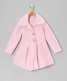 Look at this #zulilyfind! Kid Fashion Light Pink Button Coat - Girls by Kid Fashion #zulilyfinds