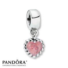 Pandora Dangle Charm Pink Enamel Heart Sterling Silver